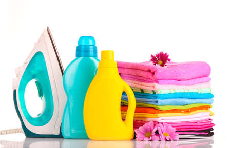Pile of colorful clothes over white background Stock Photo - 10534668