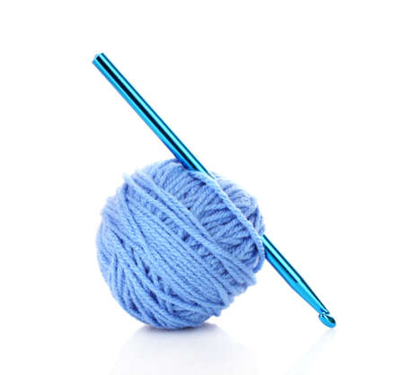 Crochet hook and wool ball isolated on white Stock Photo - 10559855