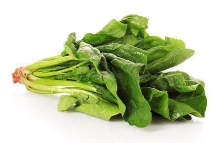 espinacas: El manojo de espinacas aisladas sobre fondo blanco