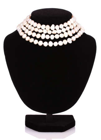 personal accessory: pearl necklace isolated on white
