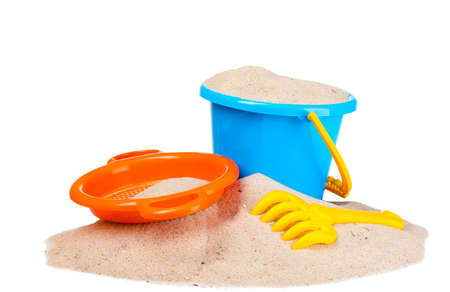 children's beach toys and sand isolated on white Stock Photo - 10574052