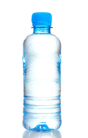mineral water: plastic bottle with water isolated on white Stock Photo