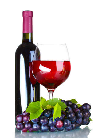 red taste: Ripe grapes, wine glass and bottle of wine isolated on white