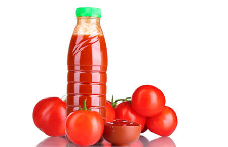 Tomato juice in bottle, tomato and ketchup isolated on white photo