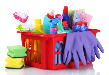 cleaning gloves: full box of cleaning supplies and gloves isolated on white Stock Photo