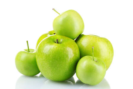 green apple: ripe green apples isolated on white