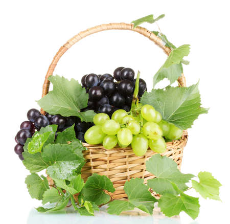 Ripe red grapes in basket isolated on white Stock Photo - 10589261