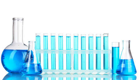 chemical substance: Test-tubes with blue liquid isolated on white Stock Photo