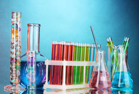 Test-tubes on blue background Stock Photo - 10589286