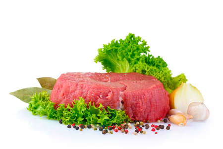 beef meat: raw  meat, vegetables and spices isolated on white