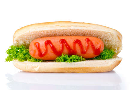 perro caliente: sabrosa hot dog aislado en blanco