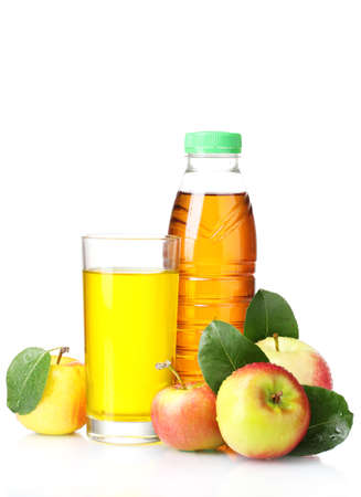 Delicious apple juice and apples isolated on white Stock Photo - 10645242