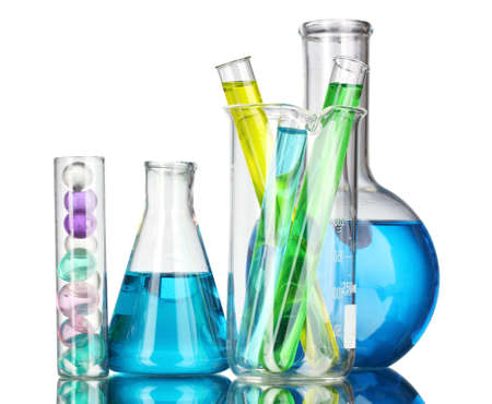 Test-tubes with liquid on gray background Stock Photo - 10645457