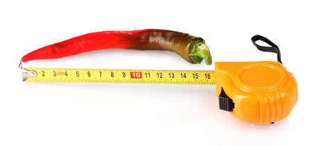phallus: Red hot pepper with measuring tape isolated on white