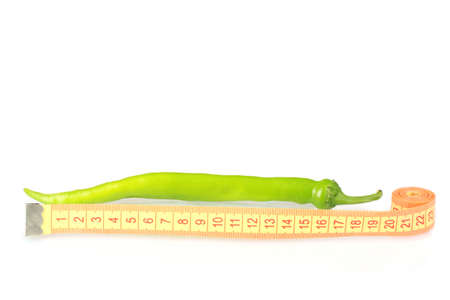 phallus: Green hot pepper with measuring tape isolated on white