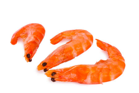 Cooked shelled tiger shrimp isolated on white photo