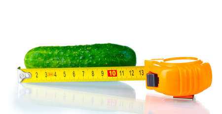 scrawny: Cucumber with measuring tape isolated on white
