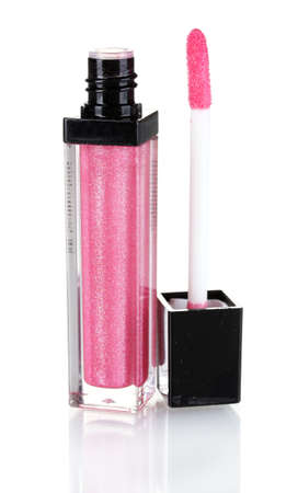Pretty pink lip gloss isolated on white photo