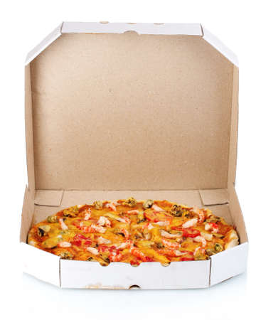 pizza box: Delicious pizza with seafood in packaging isolated on white