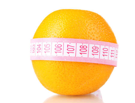 Orange and measuring tape isolated on white Stock Photo - 10670684