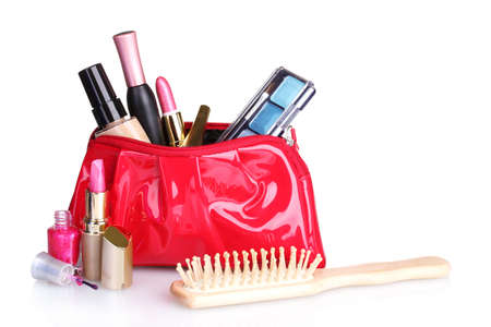 pouch: Beautiful red makeup bag and cosmetics isolated on white
