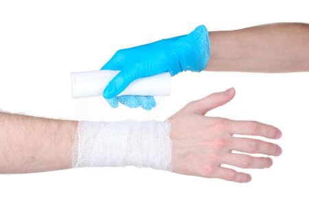 Wrist bandage isolated on white photo