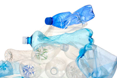 plastic recycling: Empty used plastic bottles isolated on white Stock Photo