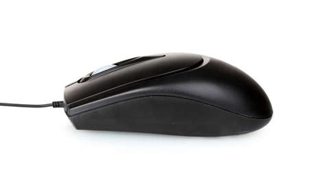 scroller: Black computer mouse isolated on white