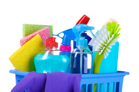 disinfect: full box of cleaning supplies and gloves isolated on white Stock Photo