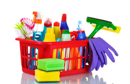 full box of cleaning supplies and gloves isolated on white Stock Photo