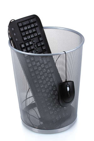 old container: Old PC keyboard and mouse in metal trash bin  isolated on  white Stock Photo