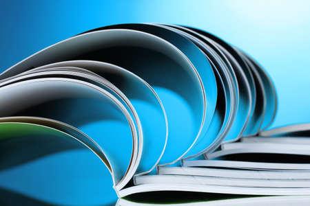 magazine on blue background photo