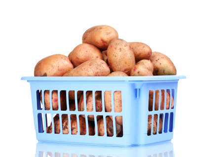 eyespot: Potatoes in blue plastic box isolated on white Stock Photo