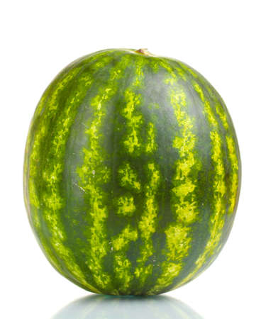 Ripe striped watermelon  isolated on white photo