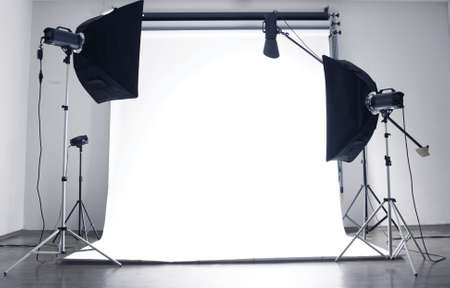 photo studio: Empty photo studio with  lighting equipment