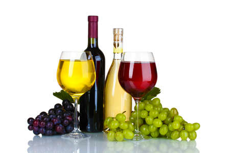 Ripe grapes, wine glasses and bottles of wine isolated on white Stock Photo - 10823024