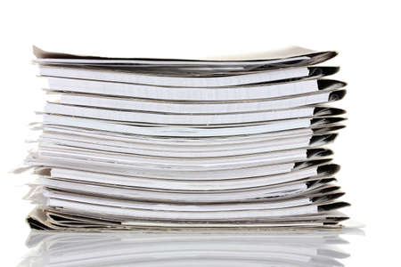 research paper: File folders on white background Stock Photo