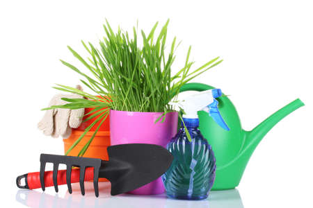 grass and garden tools isolated on white photo