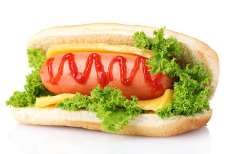 hot dog: tasty hot dog isolated on white