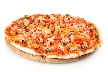 pizza ingredients: Delicious pizza with seafood on wooden stand isolated on white