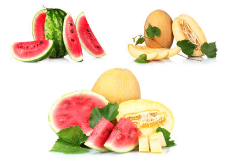 Collage(set) of watermelon isolated on white. photo