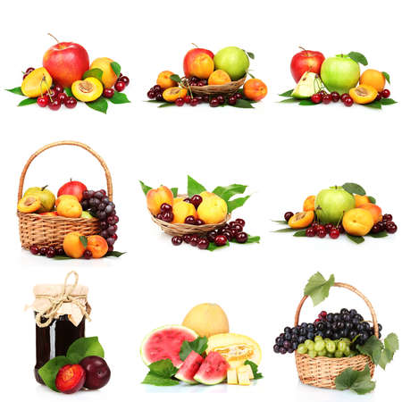 collage with  tasty summer fruits  isolated on white photo
