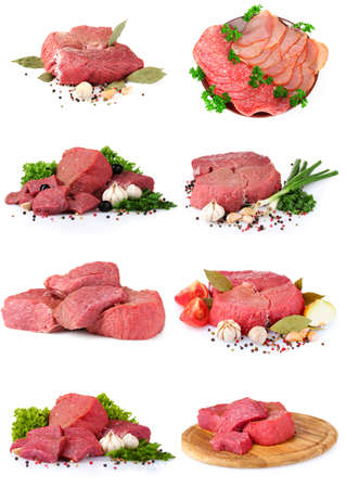 fresh raw meat collection isolated on white Stock Photo - 10924940