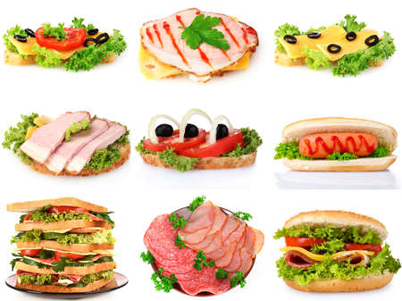 collage with sandwiches isolated on whiteisolated on whiteisolated on white photo