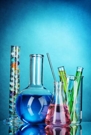Test-tubes on blue background Stock Photo