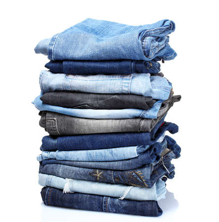 blue jeans: lot of blue jeans isolated on white