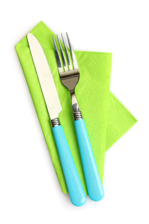 blue white kitchen: knife and fork on a napkin isolated on white