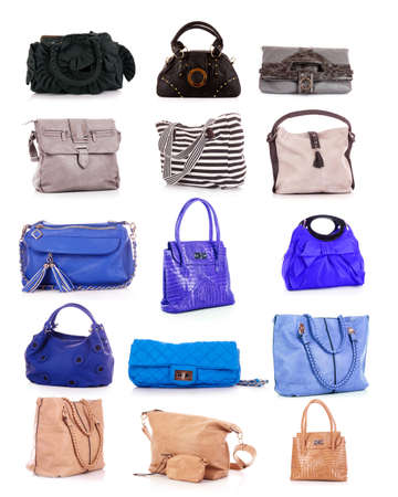 collage of colorful bags. isolated on white photo