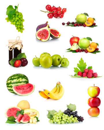 fruit basket: collage with tasty summer fruits and berries isolated on white