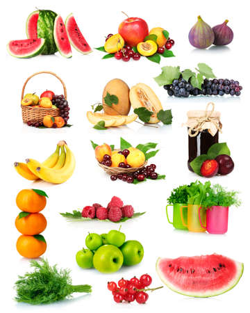 collage with tasty summer fruits and berries isolated on white Stock Photo - 11014044